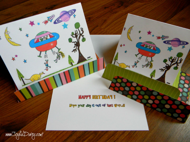 spaceship birthday cards and envelopes