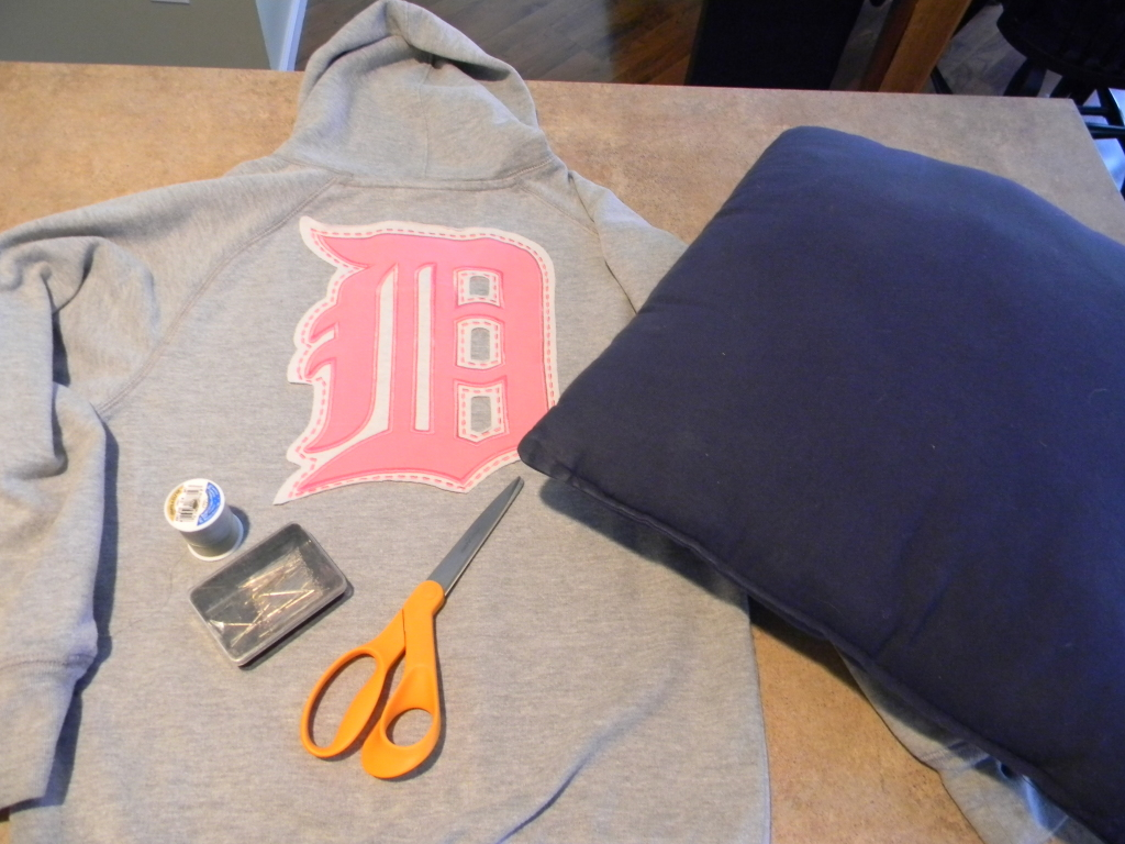 how to make a pillow out of a sweatshirt