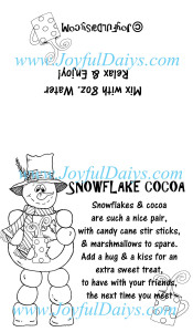 Snowflake Cocoa Label Black & WhiteWATERMARKED