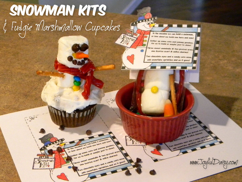 snowman kit and fudgie marshmallow cupcakes