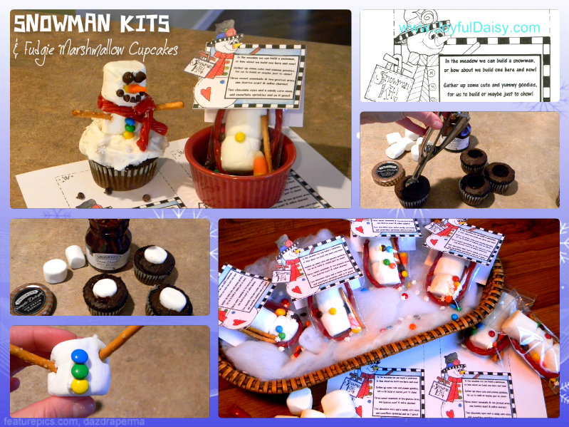 snowman kits and winter cupcakes