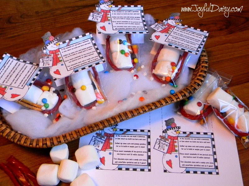 snowman snack kits- christmas labels