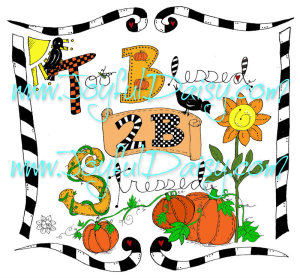 thanksgiving inspirational digital stamp - too blessed with pumpkins