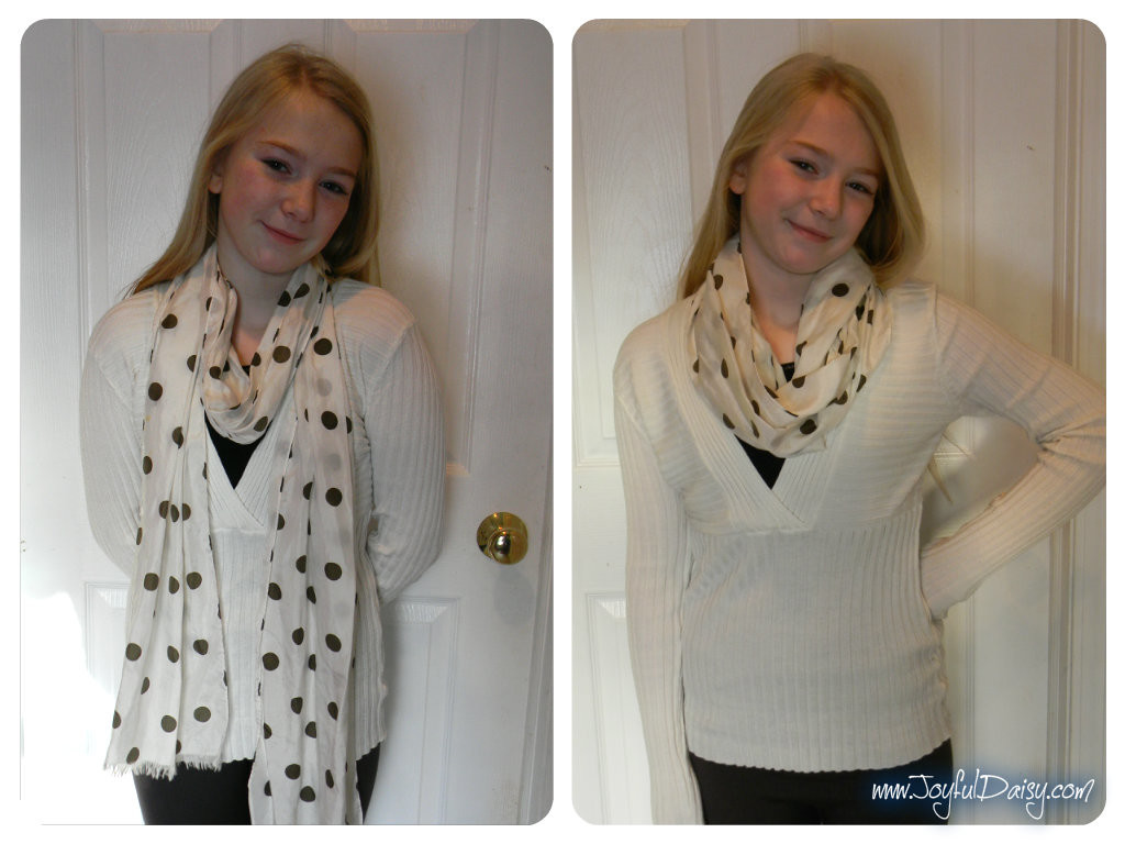 infinity scarf makeover white dotted