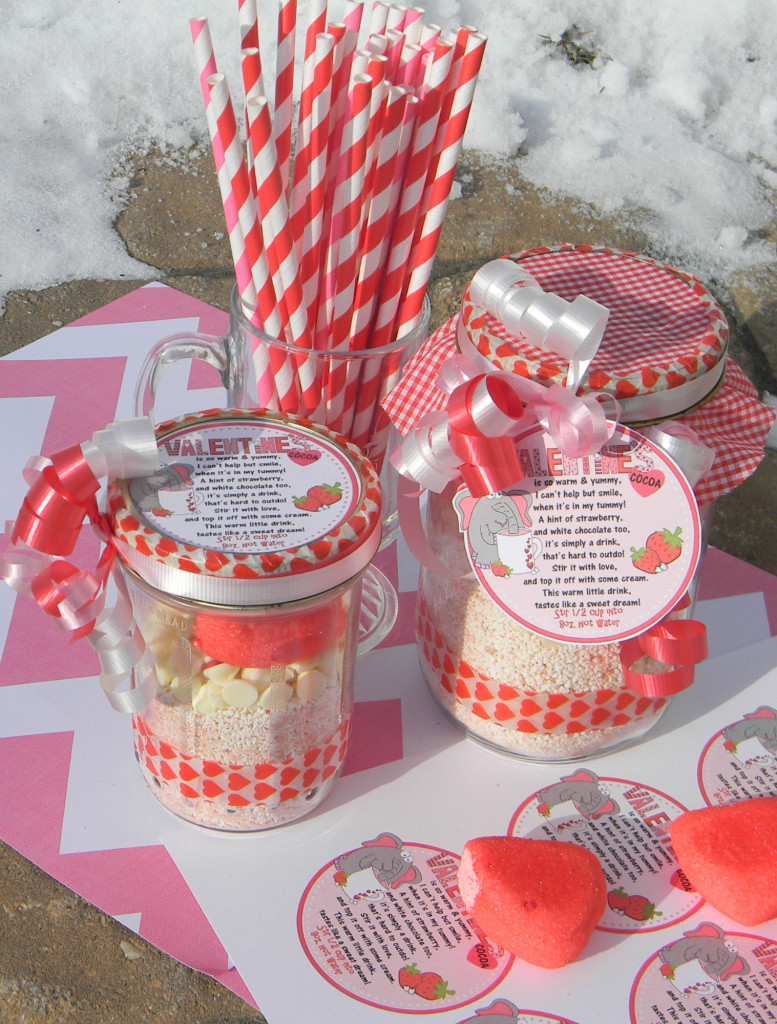 valentine cocoa jar mix and tags