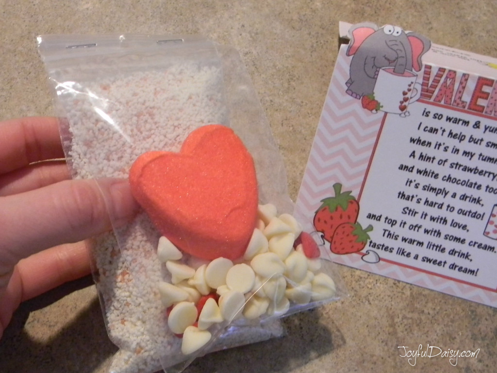 valentine cocoa mix bagging up