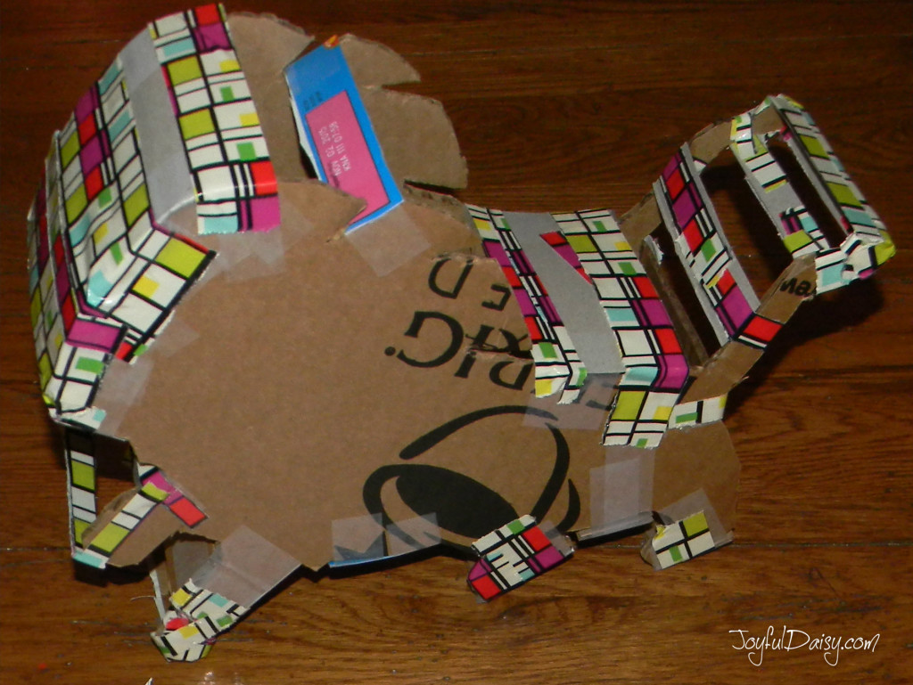 how to make a detroit lions bank out of boxes and duck tape