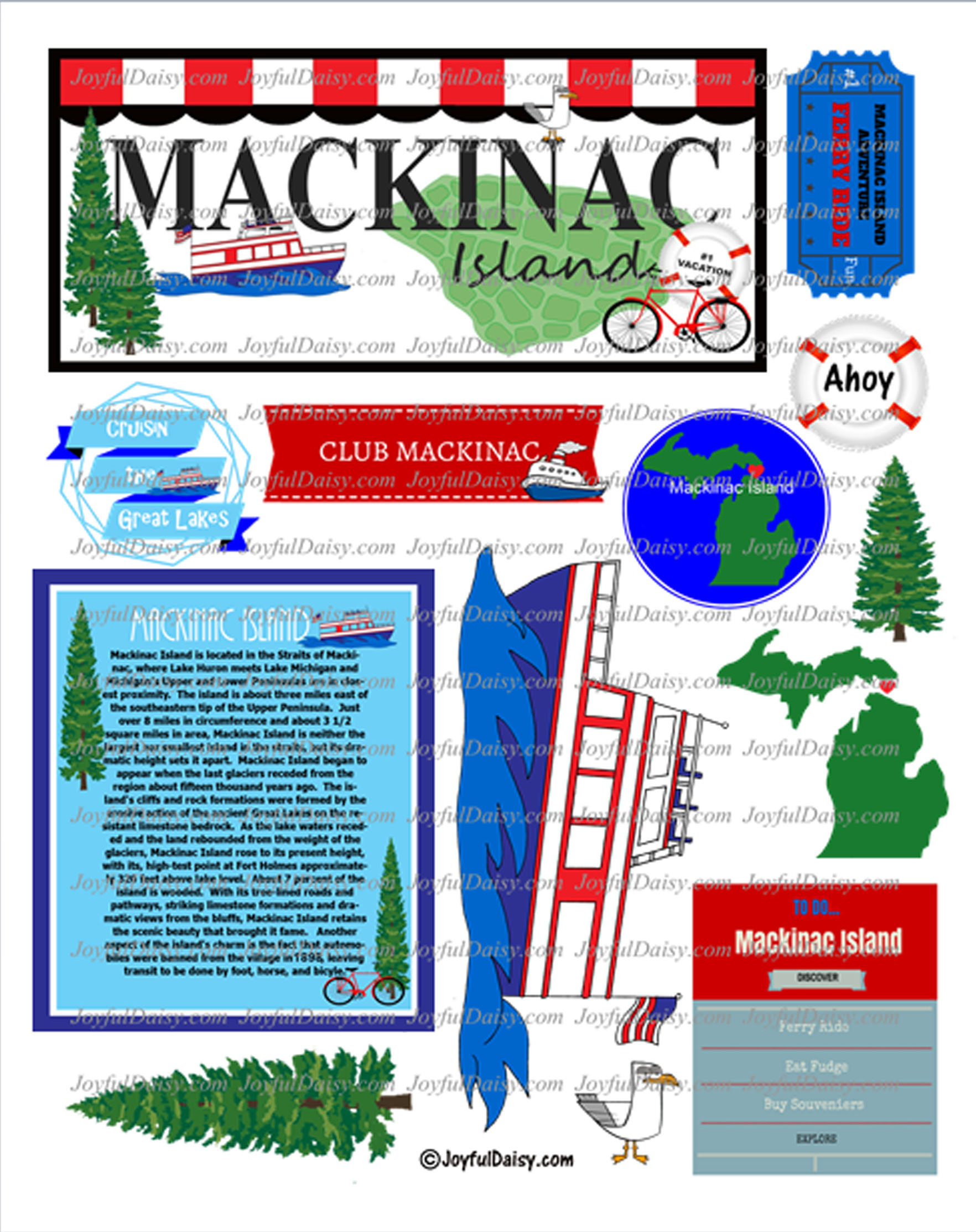 Mackinac Island Scrapbook Clip Art Digital Art Joyful