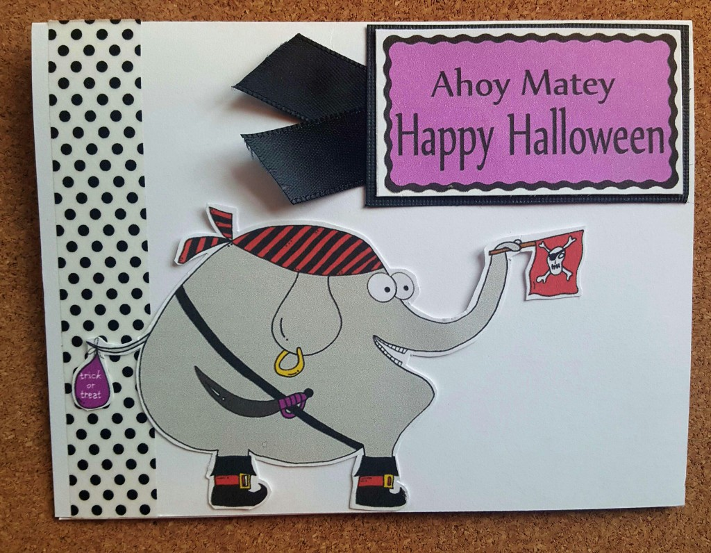 pirate elephant halloween card