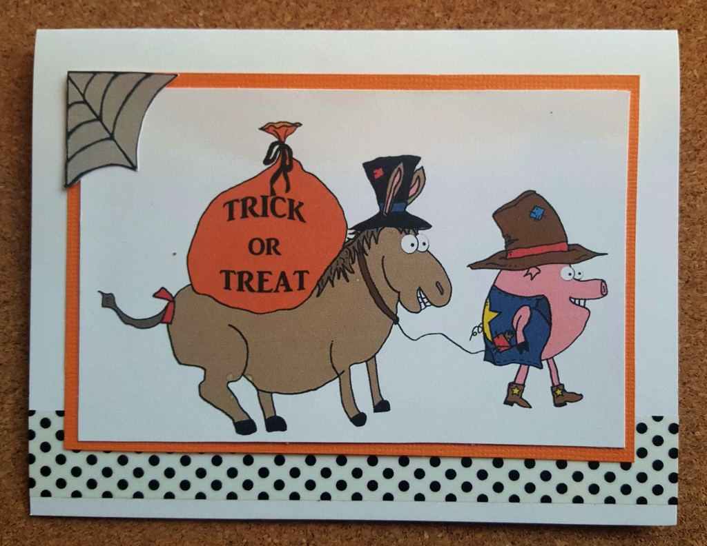 Donkey and pig hobo Halloween card