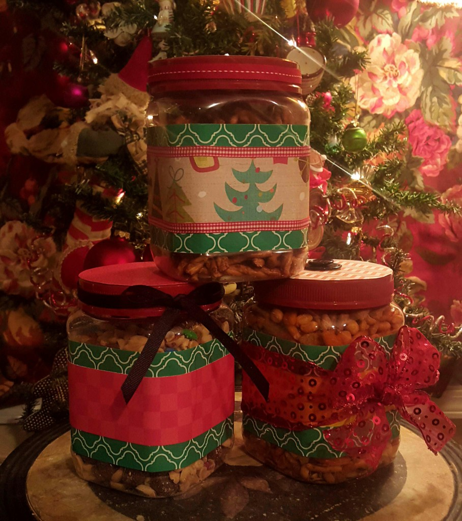 decorated containers for Christmas gifts