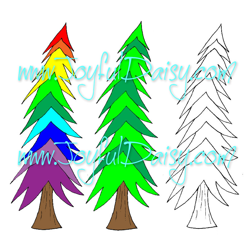 Leaning pine tree digital stamp and clip art