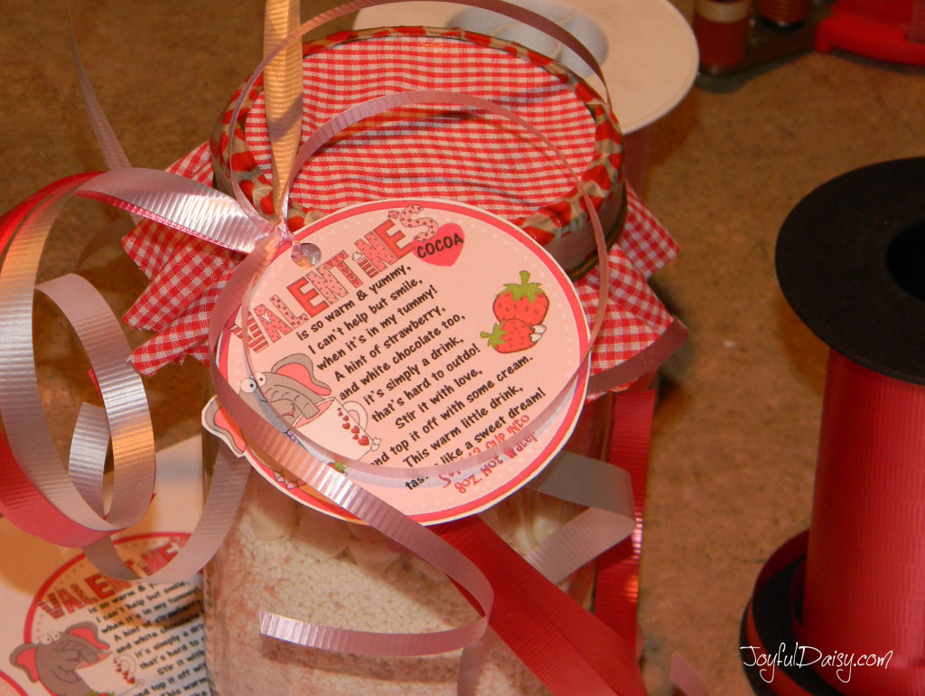 valentine cocoa jar mix decorating lid with curly ribbons