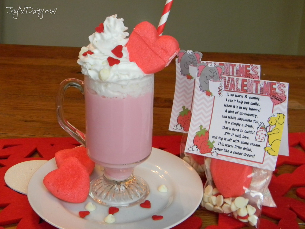 valentine cocoa mug and single labels