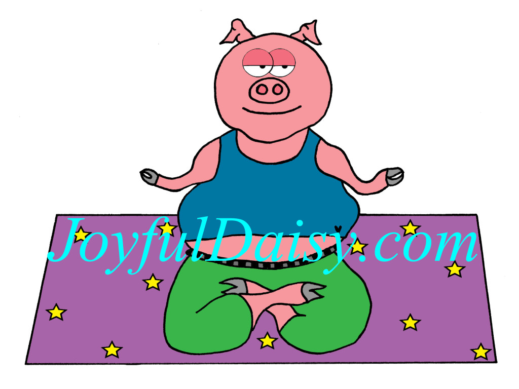 Meditating Yoga Pig Clip Art and Digital Stamp