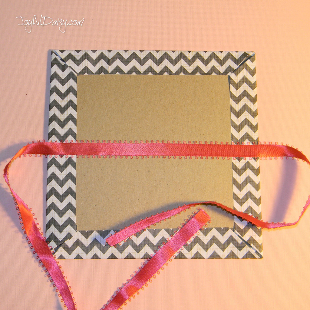 adding ribbon to valentine pop up book