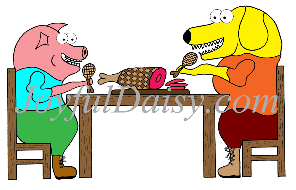 dog and pig dining CLIP ART WATERMARKED