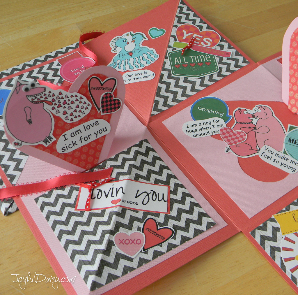 left side of valentine mini scrapbook pop up