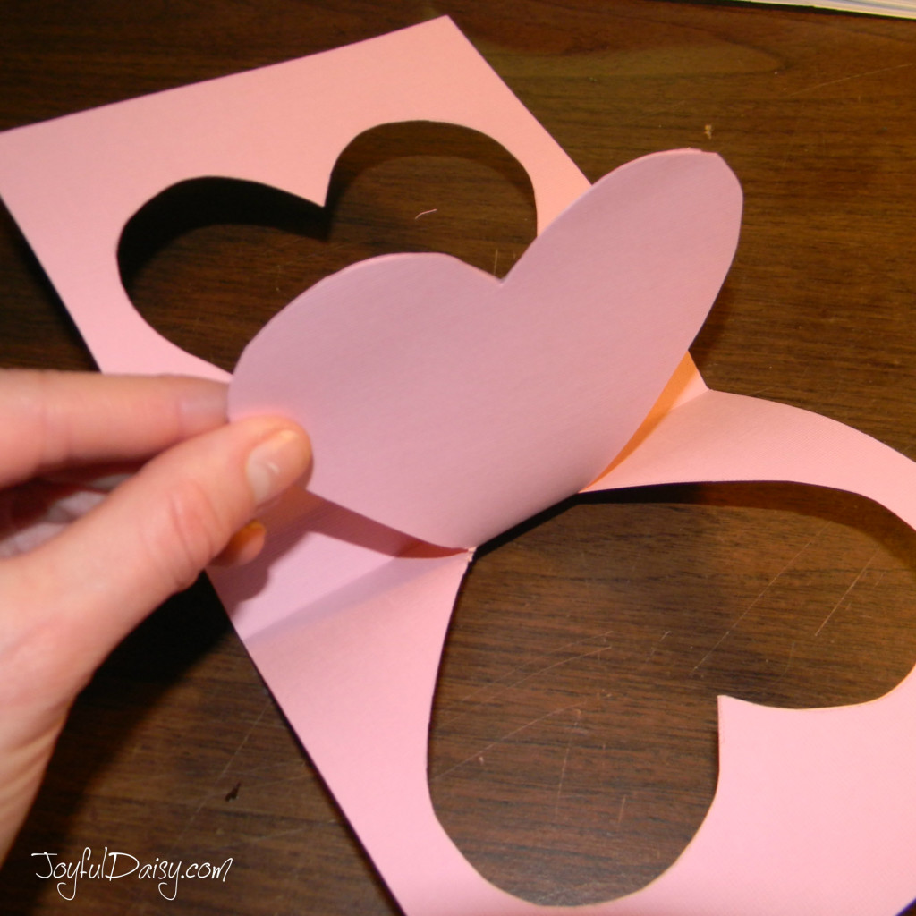 step three heart pop up card