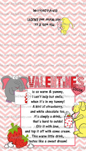 Watermarked Rectangle Valentines Cocoa Folding Tags