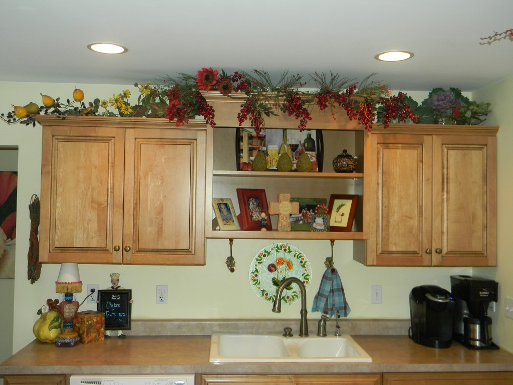 Decorating Above Kitchen Cabinets- Before And After